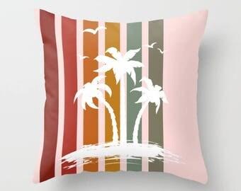 Palm Trees Throw Pillow , Decorative Throw Pillows , Pillow Cases , Throw Pillow Covers , Couch Pillows , Office Décor , Hawaii , Beach