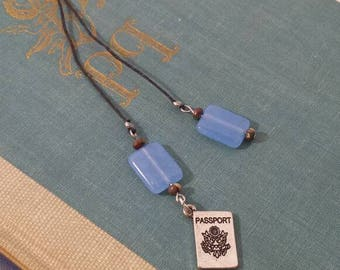 Passport bookmark with blue beads