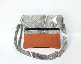Crossbody bag, Fold over clutch bag, Tropical bag, Convertible bag, Palm leaves fabric handbag, Foldover clutch bag, Pochette, Sac