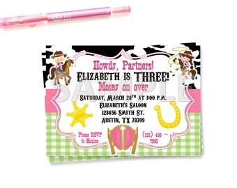 Cowgirl Birthday Party Invitation, Western Birthday Party Invitation, Printable Cowgirl Invitation, Printable Western Invitation