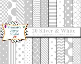 Silver Digital Paper Pack, 12x12 Scrapbook Paper, Silver Paper Instant Download Digital File for Scrapbooking, Silver Patterned Paper