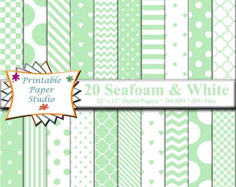Seafoam Green Digital Paper Pack, Light Green Paper for Scrapbooking, Digital Scrapbook Element, Mint Green Patterned Paper 12x12