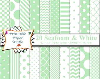 Seafoam Green Digital Paper Pack, Light Green Paper for Scrapbooking, Digital Scrapbook Element, Mint Green Patterned Paper 12x12