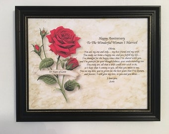 55th Anniversary, Gift For Wife, Love Poem, Personalized, Frame Included, Romantic, Gift From Husband, 55th Wedding Anniversary