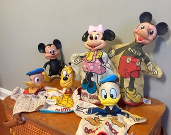 Vintage Disney Puppets - Mickey Mouse Puppet - Donald Duck Puppet - Minnie Mouse Puppet - Pluto Puppet - Mickey Mouse Doll - Disney Toys
