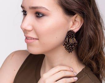 Eliza earrings clip-on - BRONZE