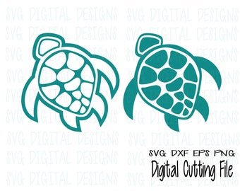Sea Turtle SVG Set Underwater Ocean Animal Cut files Svg Dxf Eps Png Cutting File Design for Silhouette Cricut + more Svg Design download