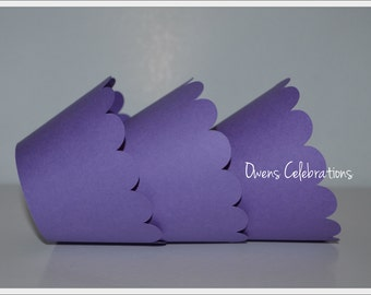 Purple Cupcake Wrappers with scalloped edge, purple party decorations by Owens  Celebrations