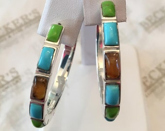 Large pair of sterling silver hoop earrings with Rectangular Treated Turquoise, Dyed Green Jasper & Amber Cabochons, posts and backs