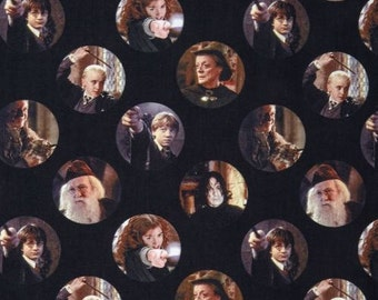Harry Potter Fabric / Harry Potter, Character Circles Black Digitally Printed Yardage / Camelot 2380203J / Fabric By The Yard & Fat Quarters