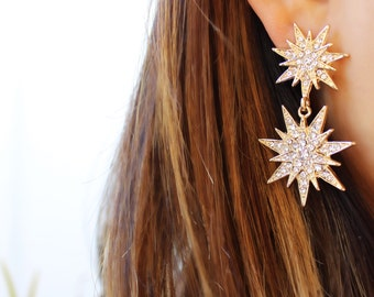Statement Star Dangle Earrings- Star Jewelry/ Gold Star/ Starburst Drops/ Celestial Jewelry/ Astrology/ Sunburst/ Starlight/ Gifts for Her