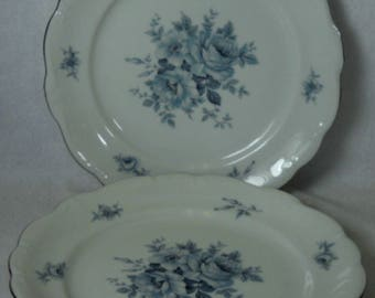 "Set of (2) Johann Haviland Blue Bouquet Salad Plates Blue Bouquet Platiunum plates 7 3/4"" Bavaria Germany"