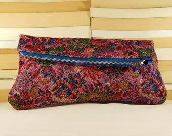 CLEARANCE SALE! Handcrafted Brocade Fabric Foldover Soft Clutch