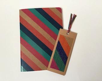 Journal & Bookmark - Matching Set - Gift Set - Cross-Stitch Bookmark