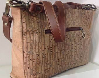 High quality cork handbag in zebra with 2 removable straps - Eco Friendly