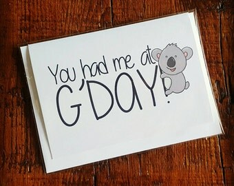 Australian Koala Valentine's Card