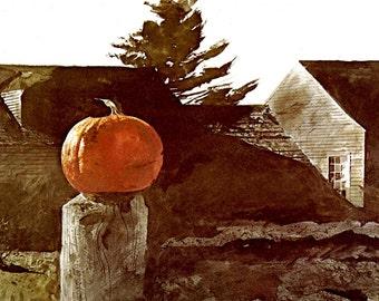 "Andrew Wyeth, Andrew Wyeth Print, American Art, American Artist, Americana, Wyeth Print, Wyeth Art, Pennsylvania Artist, ""Sundown 1969"""