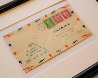 Framed Vintage Airmail Envelope - 1930