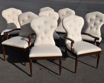 Eight Henredon Mahogany Louis Dining Chairs