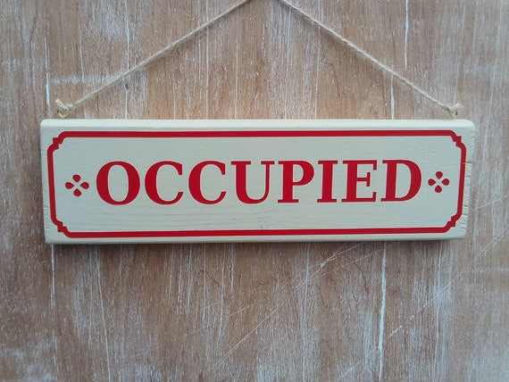 Bathroom Door Signs Vacant occupied / vacant double sided bathroom door sign. toilet