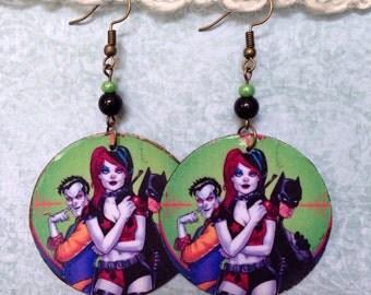 Up-cycled Harley Quinn Comic Earrings, decoupage earrings, Joker, Batman