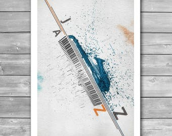 Jazz Festival Poster, Music Illustration, Jazz, Piano, Jazz Fest, Interior Art Print, Art Prints, Saxophone, Music Poster, Wall Decoration