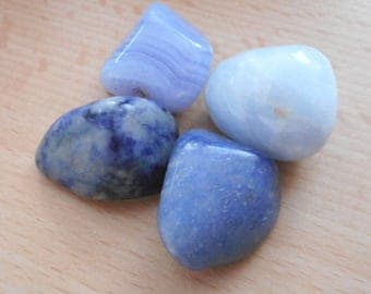 Dumortierite, Blue Calcite, Blue Lace Agate & Sodalite - 4 Healing Crystals (Calming Blue Crystals)