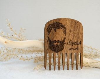 Father's day gift Walnut wood Beard Comb Beardcare accessory  Wood walnut comb men gift Beard care