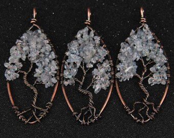 1-10pcs Blue Kyanite Chips Wire Wrapped Hollow Tree Leaf Pendants Findings,Natural Stones Nugget Beads Plated Bronze Copper Craft Necklace