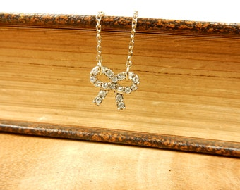 Mini Bow Necklace, Petite Jewellery, Bow Jewellery, Gift for Her, Bow Pendant