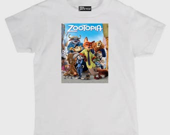 Childs tee shirt new cotton featuring hit movie Zootopia on kids t shirt