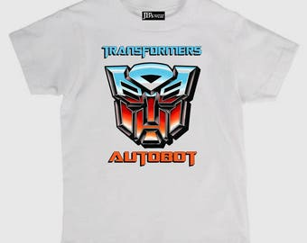 Childs tee shirt new cotton featuring Transformers Autobot on kids t shirt