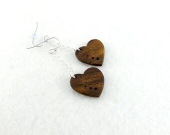 Earrings little hearts in fairtrade wood, dangling elegant and feminine wooden earrings
