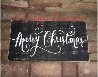 Merry Christmas Rustic Wood Painted Sign