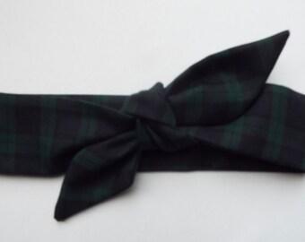 Black watch tartan adult head band hair wrap scarf bandana headwrap