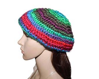 Multicolor Rainbow Slouchy Beret Hat