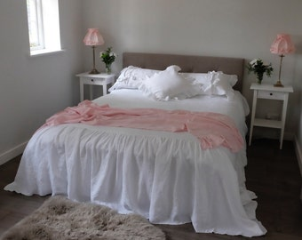 Ruffled Linen Bed Throw, Linen Bed throw, Ruffles either side - made to order. Gorgeous Shabby Chic!