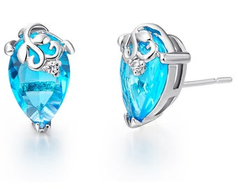 zircon drops earrings filled silver