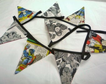 Hand made   marvel  comic book   faded  fabric  8 flag bunting  2mt long