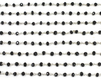 "Uncut Onyx Charm Rosary  Design Chain Silver 0.925 ""Custom Made"""