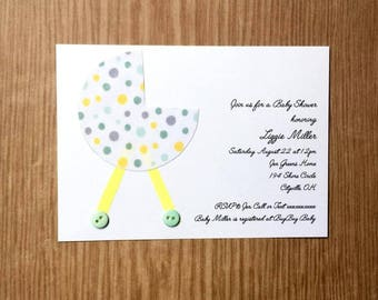 Stroller Baby Shower Invitation | Green, Yellow, Grey Polka Dots | Gender Neutral
