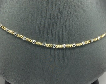 18K Solid Two-Tone Gold Diamond Cut Balls and Beads Chain