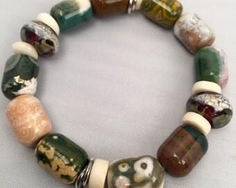 Ocean Jasper Bracelet with Handblown Glass Beads and Sterling Silver