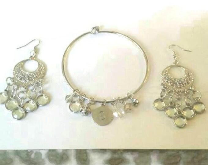Silver Bracelet Set, Chandelier Earrings, Statement Piece, Diamond Beads, Charm Bracelet, Charms, Silver Lovers, Nickle Free, Glory Jewels.