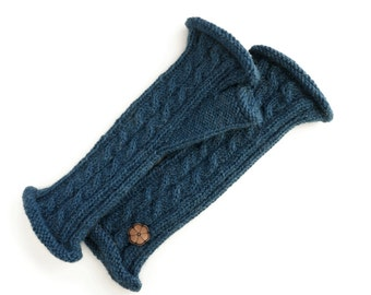Twisted mittens Navy Blue, 100% natural color alpaca, handmade