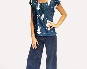 Moonlight Cacti 100% cotton  ladies sleeve top