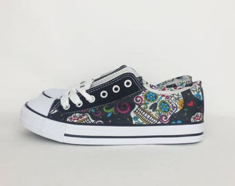 Day of the dead shoes, custom sugar skull shoes, skull converse style pumps, women trainers. goth punk alternative alt boho rockabilly shoes