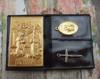Saint Rita pocket folder Catholic shrine with metal picture medal and Crucifix
