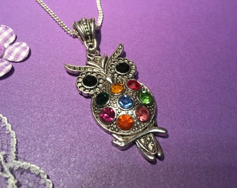 Owl Necklace, Handmade Owl Necklace, Long Owl Necklace, Coloured Crystal Owl Necklace
