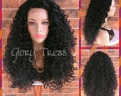 READY To SHIP // Long Curly Lace Front Wig,  Black Curly Wig, Celebrity Inspired Hairstyle // JOY (Free Shipping)